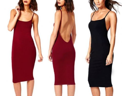 New Backless Full Open Back MIDI PARTY EVENING CLUB DRESS